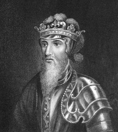 Edward III of England (1312 -1377) on engraving from 1830. King of England during 1327-1377. Published in London by Thomas Kelly. Editorial