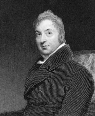 Edward Jenner (1749-1823) on engraving from 1844. The Father of Immunology. Pioneer of smallpox vaccine. Engraved by W.H.Mote after a painting by T.Lawrence  and published by Fisher, Son & Co London. Stock Photo - 9488601