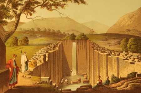 Fountain of Siloam on engraving from the 1800s by Luigi Mayer. A freshwater reservoir that was a major gathering place for ancient Jews making religious pilgrimagesto the city and the reputed site where Jesus cured a man blind from birth. Standard-Bild
