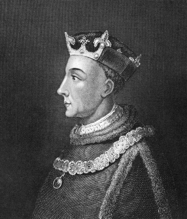 Henry V of England (1386-1422) on engraving from 1830. King of England during 1413-1422. Published in London by Thomas Kelly. Editorial