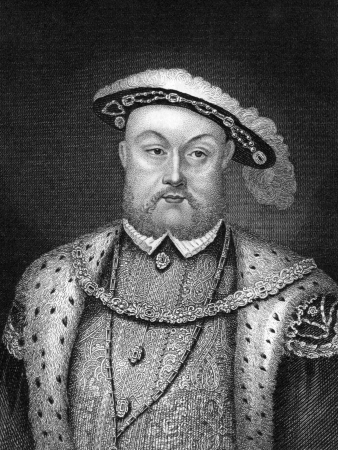 Henry VIII (1491-1547) on engraving from 1830.King of England during 1509-1547. Published in London by Thomas Kelly.