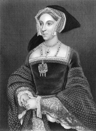 jane: Jane Seymour (1508-1537) on engraving from 1838. Queen consort of England as the third wife of King Henry VIII. Engraved by H.Robinson after a painting by Holbein and published by J.Tallis & Co.