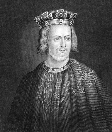 John King of England (1166-1216) on engraving from 1830. King of England during 1199-1216. Published in London by Thomas Kelly.