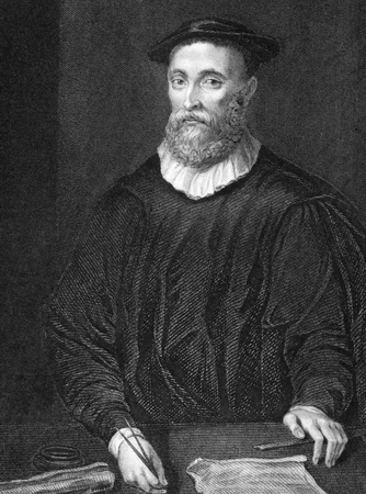 clergyman: John Knox (1510-1572) on engraving from 1838. Scottish clergyman. Engraved by H.T.Ryall and published by J.Tallis & Co.