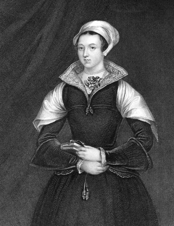 Lady Jane Grey (1536/1537-1554) on engraving from 1838. Also known as The Nine Days Queen, she was an English noblewoman who occupied the English throne during 10 July-19 July of 1553 and was executed for high treason. Engraved by H.T.Ryall and published  Stock Photo - 9488610