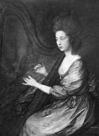 patron: Louisa Clarges (1760-1809) on engraving from 1900. Accomplished singer, harp player and patron of several outstanding musicians. Engraved after a painting by  T.Gainsborough and published by Virtue & Co.  Editorial