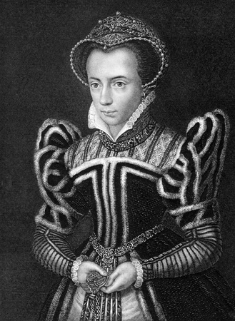 Mary I of England (1516-1558) on engraving from 1838. Queen regnant of England and Ireland during 1553-1558. Engraved by H.T.Ryall after a painting by Holbein and published by J.Tallis & Co.