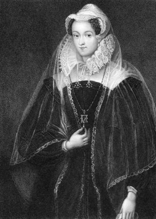 scots: Mary I (1542-1587) on engraving from 1838. Queen of Scotland during 1542-1567. Engraved by W.T.Fry and published by J.Tallis & Co.
