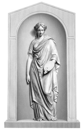 goddesses: Muse of painting engraving from 1866. Engraved by R.A.Artlett from a sculpture by J.H.Foley. Stock Photo