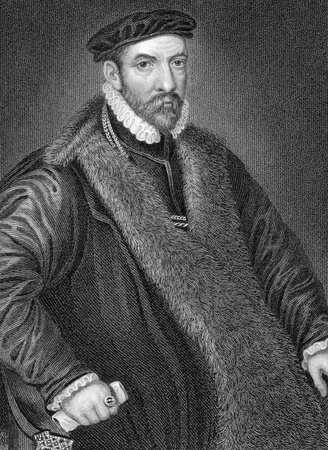 bacon portrait: Nicholas Bacon (1510-1579) on engraving from 1838. English politician and father of the philosopher and statesman Francis Bacon. Engraved by W.H.More after a painting by Zucchero and published by J.Tallis & Co.