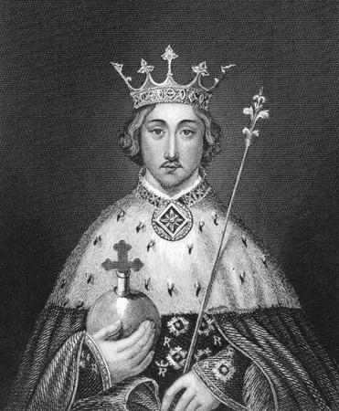 rey: Ricardo II de Inglaterra (1367-1400) en grabado desde 1830. Rey de Inglaterra en 1377-1399. Publicado en Londres por Thomas Kelly.