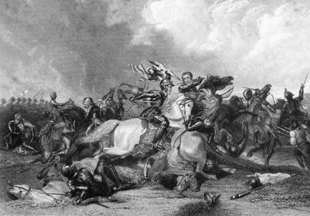 iii: Richard III and the Earl of Richmond at the Battle of Bosworth in 1485 on engraving from the 1800s. Engraved by J.Rogers after a painting by A.Cooper and published by J.& F.Tallis.