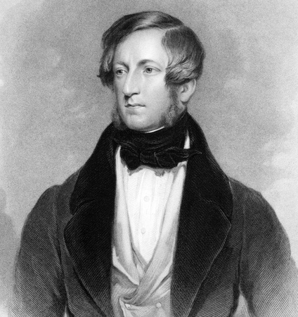 statesman: Robert Stewart, 2nd Marquess of Londonderry (1769-1822) on engraving from 1838. Irish and British statesman. Engraved by Jenkinson after a painting by Robinson and published by G.Virtue. Editorial