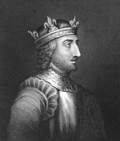 King Stephen (1096-1154) on engraving from 1830. Grandson of William the Conqueror and last Norman King of England during 1135-1141. Published in London by Thomas Kelly.