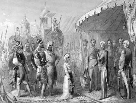 maharaja: The submission of the young Maharaja Duleep Singh to Sir Henry Hardinge at the end of the 1st Sikh War on engraving from 1846. Drawn and engraved by H.K.Browne. Editorial