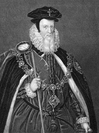 baron: William Cecil, 1st Baron Burghley (1521-1598) on engraving from 1838. English statesman. Engraved by H.T.Ryall after a painting by MArk Gerard and published by J.Tallis & Co.