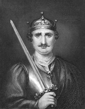 conqueror: William the Conqueror (1027-1087) on engraving from 1830. King of England during 1066-1087.  Published in London by Thomas Kelly.