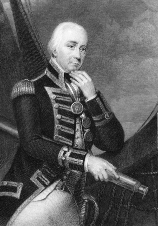 Vice Admiral Cuthbert Collingwood, 1st Baron Collingwood (1748-1810) on engraving from 1832. Admiral of the Royal Navy, notable as a partner with Lord Nelson in several of the British victories of the Napoleonic Wars. Engraved by W.Finden after a painting Stock Photo - 9625034