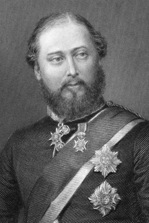 dominions: Edward VII (1841-1910) on engraving from 1800s. King of the United Kingdom of Great Britain and Ireland and of the British Dominions and Emperor of India during 1901- 1910. Engraved by G.Cook and published in London by Virtue & Co.