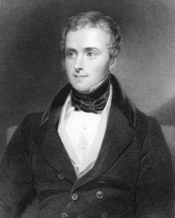 hamilton: George Alexander Hamilton (1802-1871) on engraving from 1800s. Minor British Conservative Party politician and later a prominent civil servant. Engraved by Posselwhite after a painting by Newton and published by G.Virtue.