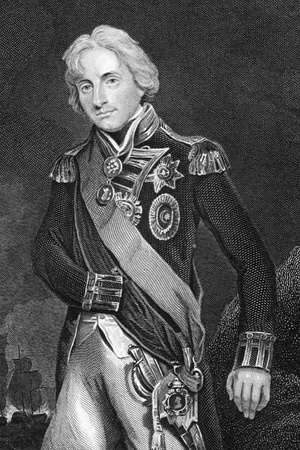 Horatio Nelson, 1st Viscount Nelson (1758-1805) on engraving from 1800s. English flag officer famous for his service in the Royal Navy, particularly during the Napoleonic Wars. Engraved by W.Finden after a picture by Hoppner and published by the London Pr