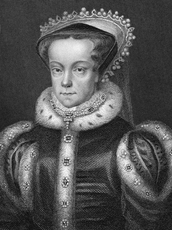 regnant: Mary I of England (1516-1558) on engraving from 1800s. Queen regnant of England and Ireland during 1553-1558.