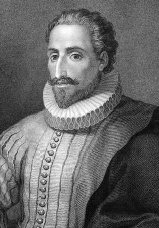 Miguel de Cervantes Saavedra (1547-1616) sur la gravure du XIXe siècle. Écrivain espagnol, poète et dramaturge. Son magnum opus, Don Quichotte, est considéré parmi les meilleures ?uvres de fiction jamais écrite. Gravé par E.Mackenzie et publié à Londres par Charles K Banque d'images - 9625037