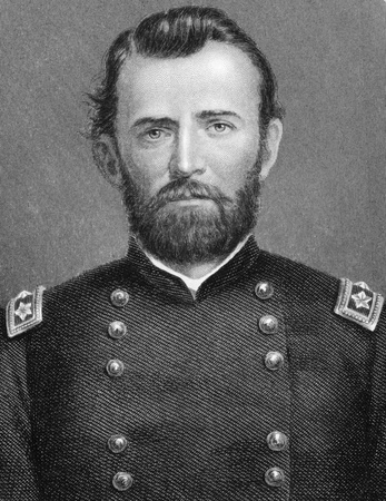 Ulysses S. Grant (1822-1885) on engraving from 1800s. 18th President of the United States (1869-1877) and  military commander during the Civil War. Published in London by Virtue Co.  Stock Photo - 9625120