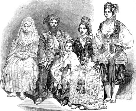 Algeria: Algerian family on engraving from 1800s.