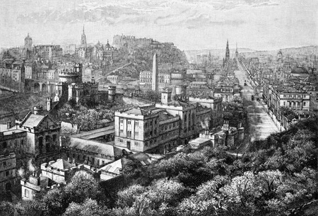 Edinburgh from Calton Hill on engraving from 1800s.