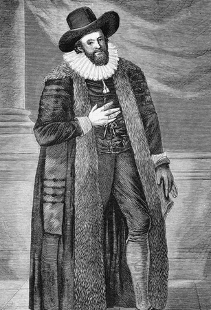 elizabethan: Edward Alleyn (1566-1626) on engraving from 1870.  English actor who was a major figure of the Elizabethan theatre. Published in the Graphic.