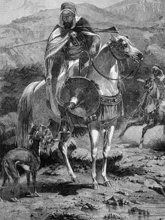 Hare hunting in Algeria on engraving from 1860 published in Illustrated Times.