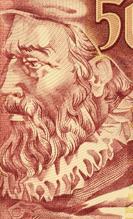 Joao de Barros (1496-1570) on 500 Escudos 1997 banknote from Portugal. One of the first great Portuguese historians.