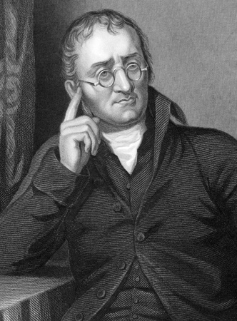 John Dalton (1766-1844) sur la gravure du XIXe siècle.Chimiste, météorologue et physicien britannique. Gravé par C.Cook après une photo par Allen et édité par W.Mackenzie. Banque d'images - 9794809