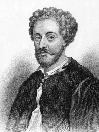 chronology: John Fletcher (1579-1625) on engraving from 1800s. Jacobean playwright. Engraved for Townsend Alphabetical Chronology. Editorial