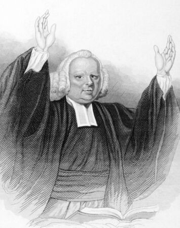 wesley: John Wesley (1703-1791) preaching over an open bible on engraving from the 1800s. Anglican cleric and Christian theologian. Published in London by L.Tallis. Editorial