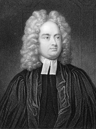 satirist: Jonathan Swift (1667-1745) on engraving from 1800s. Irish satirist, essayist, political pamphleteer, poet and cleric. Published by W.Mackenzie.