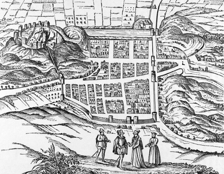 Plan of Edinburgh from a print of early 1600s on engraving from 1800s  photo