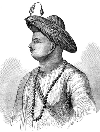 facto: Tipu Sultan (1750-1799) on engraving from 1800s. Also known as the Tiger of Mysore, was the de facto ruler of the Kingdom of Mysore.