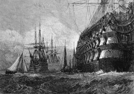 published: Big warship on engraving from 1865 after a drawing by J.M.W.Turner and published in the Illustrated London News. Editorial