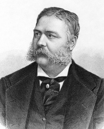 arthur: Chester Alan Arthur (1829-1886) on engraving from 1883. 21st President of the United States. Engraved by A.Weger.