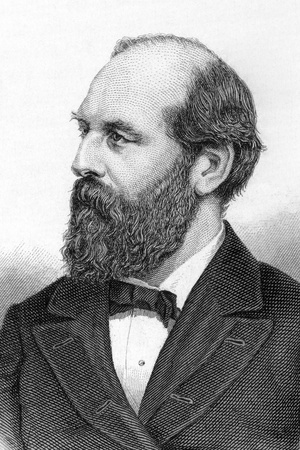 20th: James Abram Garfield (1831-1881) on engraving from 1800s. 20th President of the United States.