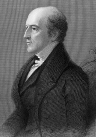 mp: Thomas Langlois Lefroy (1776-1869) on engraving from 1800s. Irish-Huguenot politician and judge. Engraved by H.Robinson after a painting by G.Hayter and published by G.Virtue.