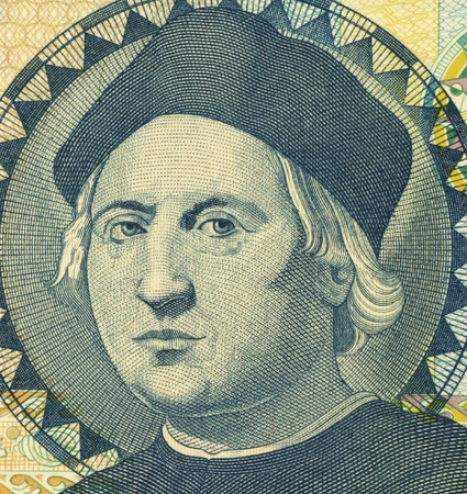 Christopher Columbus (1451-1506) on 1 Dollar 1992 Banknote from Bahamas. Italian explorer, colonizer and navigator. Stock Photo - 10887945
