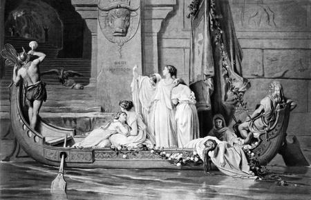 sacrificio: Sacrificio para el Minotauro. Grabado por Goupil y publicado en las obras maestras de arte franc�s, EE.UU., 1882.