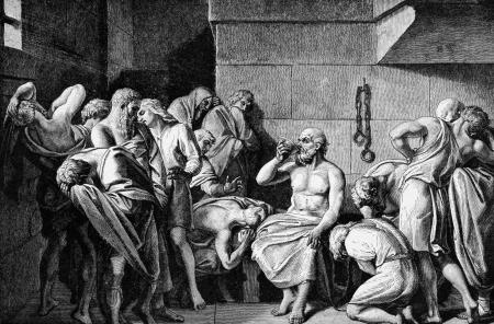 Socrate boit Le Conium. Gravé par le graveur inconnu et publiée dans Histoire illustrée de la Grande-Mondes des Nations, les Etats-Unis, 1882. Banque d'images - 11589267