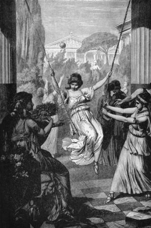 Sports of Ancient Greek Girls. Engraved by M.Weber and published in Pictorial History Of The Worlds Great Nations, United States, 1882.