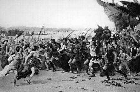 ancient soldiers: The Vanquishers of Salamis Celebrating. Engraved by Gebbie and published in Masterpieces of Art of the Paris Exhibition, USA, 1889.