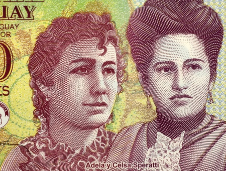 banknote uncirculated: Adela and Celsa Speratti on 2000 Guaranies 2009 Banknote from Paraguay. Paraguayan sisters and 19th century educators.