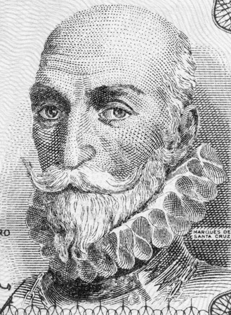 bazan: Alvaro de Bazan, 1st Marquis of Santa Cruz (1526-1588) on 1 Peseta 1953 Banknote From Spain. Spanish admiral.